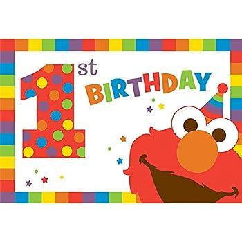 Amazon Amscan Sesame Street Elmo Turns One Postcard Invitations