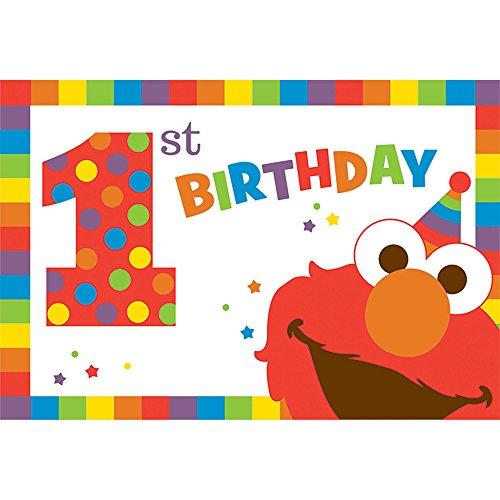 Amscan Sesame Street Elmo Turns One Postcard Invitations, -
