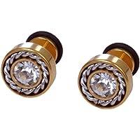 Chooz Designer Studio Enamel Diamond Gold Plated Stud Earring For Men