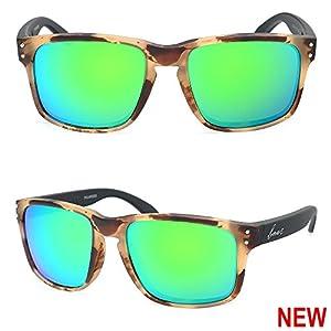 Bnus italy made sunglasses for men women corning real glass lens w. polarized option (Frame: Chaparral/Lens: Green Flash, Polarized)