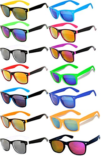 Wholesale Bulk Colored Mirrored Lens Sunglasses 14 pairs -