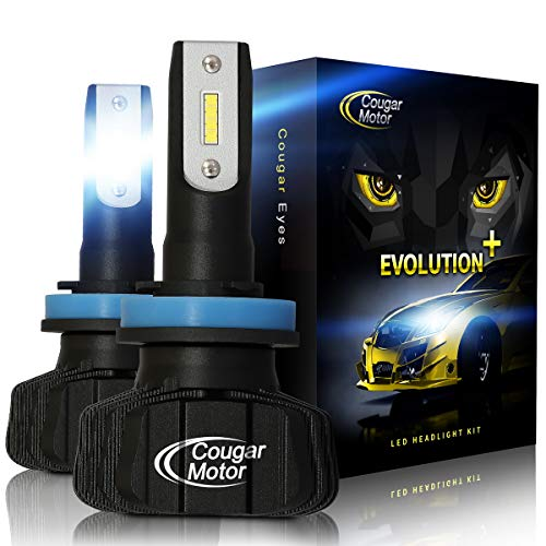 Cougar Motor H11 Led headlight bulb, 9600Lm 6500K (H8 H9) Fanless All-in-One Conversion Kit - 3D Bionic Technology (Plus Bulbs Headlight White)