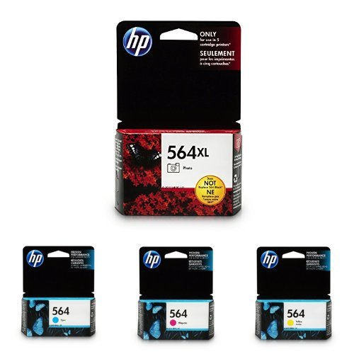 HP 564XL/564 High Yield Black and Standard C/M/Y Color Ink Cartridges (Hp 564 Photo Ink)