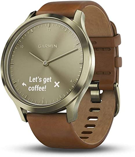 Garmin vívomove HR, Hybrid Smartwatch for Men and Women, Small/Medium, Gold with Leather Band (Renewed)