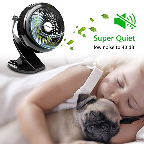 OPOLAR Battery Clip on Fan, Powered by USB or 2200mAh Rechargeable Battery, 360 Adjustable Wind, Personal Clip or Desk Fan with 3 Speeds, Multi Versatile for Office, Car, Baby Stroller and Outdoor by OPOLAR (Image #5)