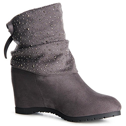 Topschuhe24 Gris Baskets Chaussures De Sport Femmes Coin rUTSOqTy4A