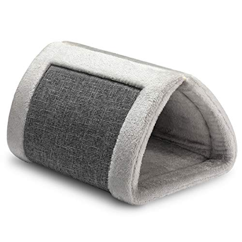 Hollypet Self Warming Cat Cave Bed for Indoor 2 in 1 Pet Tunnel Tube House Folable Cushion Mat for Dog Puppy Kitty