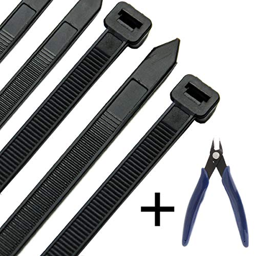 (Honyear 24 Inch Cable Zip Ties Heavy Duty (with Wire Cable Cutters), Strong Large Black Zip Ties with 175 Pounds Tensile Strength, 50 Pack, Long Durable Nylon Black tie Wraps, Outdoor UV Resistant )