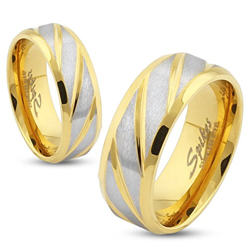 Jinique STR-0322 Stainless Steel Diagonal Striped Gold IP Ring; Sold by Piece
