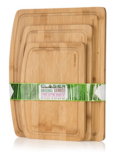 (Premium Bamboo Cutting Boards for Kitchen Set of 3 - Eco-Friendly 100% Natural Bamboo Wooden Chopping Board with Juice Groove for Food Prep, Meat, Vegetables, Fruits, Crackers & Cheese - by Clasier )