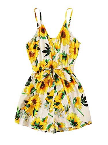 - SheIn Women's V Neck Tropical Print Elastic Waist Tulip Hem Cami Romper Small Sunflower