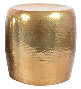Madhu 's Collection Decorativo de Metal Mesa Auxiliar/Taburete, 50x 50x 50cm), diseño de Flores, Color Dorado Envejecido