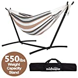 Zupapa Hammock with Space-Saving Steel Stand, 2 Person Heavy Duty 550LBS Capacity Portable Indoor/Outdoor Hammock on a Stand- Storage Bag Included - Desert Stripe