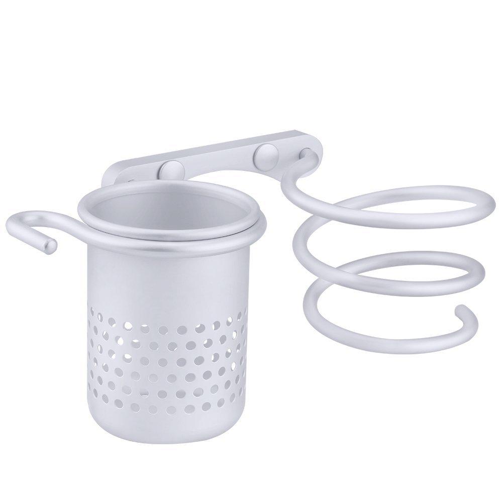 Yosoo Aluminum Multifunctional Bathroom Organizer Collection Storage Rack / Spiral & Hair Dryer Holder Stand & Canister & Towel Hooks Wall-mounted (Hair Dryer & Straightener Holder)