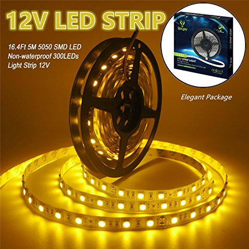 IEKOV DC12V 5050 SMD 300 LEDs Flexible Flash Light Tape, 16.4-Feet (5 Meters) - Non-Waterproof, -