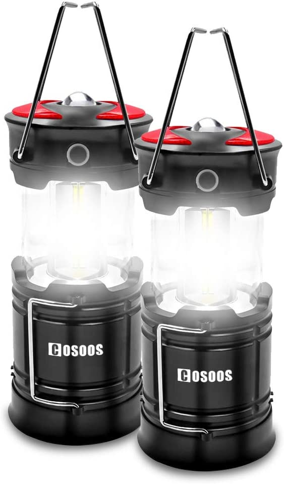 2 Pack Rechargeable Camping Lanterns, COSOOS LED Lantern Flashlight with Built in Battery, 4 Lighting Mode, Best for Outdoor, Emergency, Hiking, Hurricane, Power Outage(Charging Cables Included)