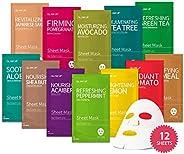 Sheet mask by Glam Up Facial Sheet Mask BTS 12 Combo (Pack of 12) - Face Masks Skincare, Hydrating Face Masks,