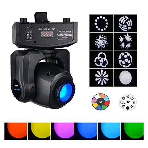 Moving Heads DJ Lighting, 35W 8 Colors LED Spot Lighting,Effect Wash Lights for Disco Club Wedding Party Sound/Auto/DMX512/Master-slave Controlled