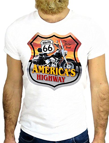 T SHIRT JODE Z1319 AMERICA HIGHWAY ROUTE 66 CHIP'S COOL LOS ANGELES USA BIKER GGG24 BIANCA - WHITE S