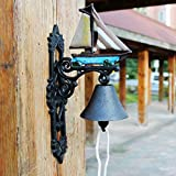 HIZLJJ Outdoor Wall-Mounted Fountains Heavy Duty Cast Iron Wall Bell Featured on an Antique Vintage Rustic Farmhouse Bracket Classic Cabin Metal Mount for Indoor Outdoor Decoration Classic Sculpture f