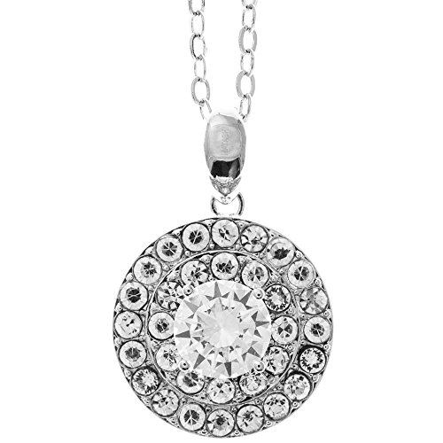 """Matashi 18K White Gold Plated Necklace with 'Three Concentric Circles' Design with a 16"""" Extendable Chain and Crystals by"""