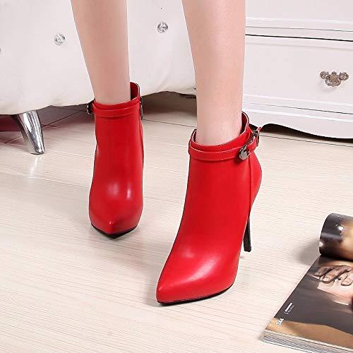 Primavera Comodidad De Zhznvx Tacón otoño Negro Pu Mujer Red Zapatos botines rojo Aguja HWIgg1qS
