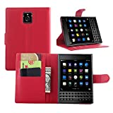 BlackBerry Passport leather case , Caiyan(TM) Flip Pu Leather Card holder Case Wallet Cover with Stand for BlackBerry Passport / Q30 (Red)