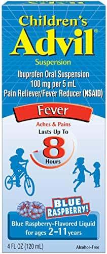 Children's AdvilSuspension (4 fl. oz, Blue Raspberry-Flavored), 100mg Ibuprofen Fever Reducer/Pain Reliever, Liquid Pain Medicine, Ages 2 –11