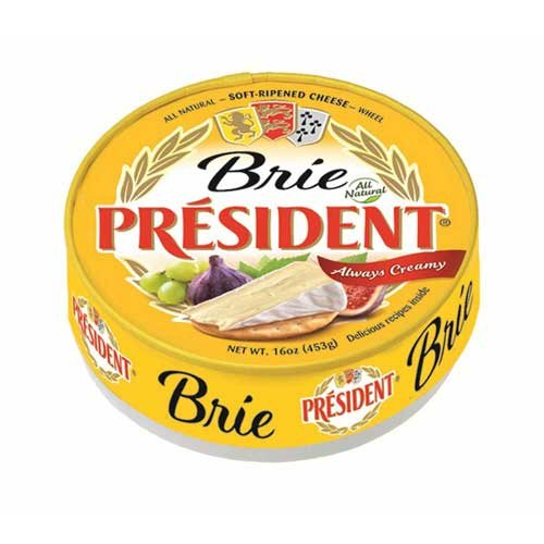 President Soft Ripened Brie Cheese Wheels, 16 Ounce -- 6 per case.