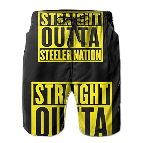 Feimao Straight Outta Steeler Nation Mens Beach Shorts Summer Casual Swimming Trunks with Pockets White