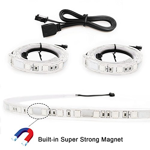 Extended Computer Magnetic LED Strip - Strong Magnet Bright 2pcs RGB
