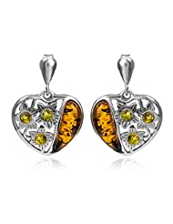 Sterling Silver Multicolor Amber Heart Stud Earrings
