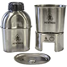 Pathfinder PTH003 Stainless Steel Canteen Cooking Set W/Nylon Pouch (4 Pieces)