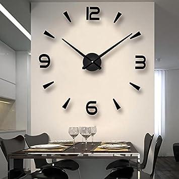 Amazoncom Zehui 3D Mirror large wall clock for living room acrylic