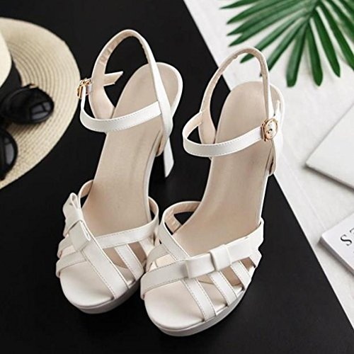 Peep Plateau Alto Womens Hollow Toe Con Slingback Out Open Sandali Vecjunia Dress Bianco Tacco Shoes gqx5ZvRw