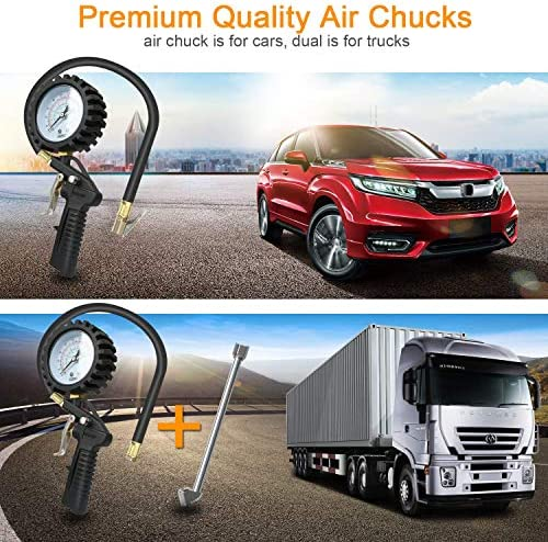 Yous Auto Manom/ètre pression pneumatiques 220 PSI Manom/ètre Gonfleur Roues voiture avec tuyau en caoutchouc de 50 cm pour v/éhicules moto v/élo et camion etc