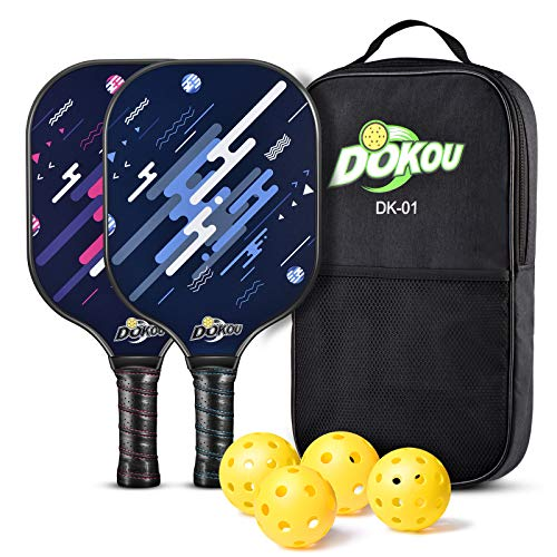 DOKOU Pickleball Paddles, Pickleball Set of 2 Pickleball Paddles, 4 Pickleball Balls, and 1 Bag, Pickleball Paddles with Fiberglass Face, Polypropylene Honeycomb Core, Edge Guard, and Ergonomic Grip