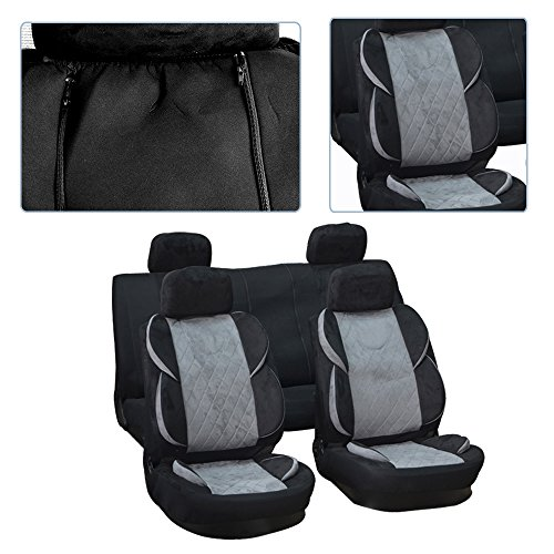 cciyu Seat Cover, Universal Car Seat Cover w/Headrest - 100% Breathable Washable Auto Seat Cover Replacement Replacement fit for Most Cars(Black/Gray)