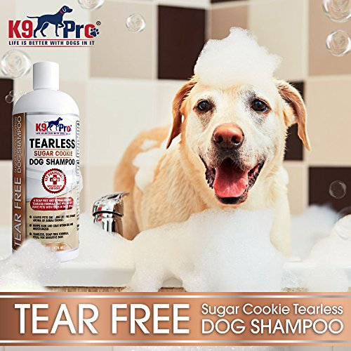 K9 Pro Tear Free Dog Shampoo - Best Hypoallergenic Tearless Anti Itch Vet Formula For Dogs With Allergies And Dry Itchy Sensitive Skin - Soothing and Gentle on Your Puppies Eyes - Sugar Cookie Scent