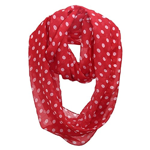 Beety Colorful Premium Chiffon Soft Multicolor Charming Sheer Infinity Scarf (Polka Dots/Red)
