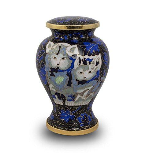 Cloisonne Cat Urn - Blue - Blue Bronze 25 Pounds Small