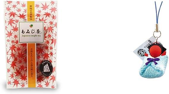 [2点セット] もみじ茶(7パック入)・おくるみさるぼぼ【青】(布タイプ) 小 ストラップ/子宝・安産祈願に //