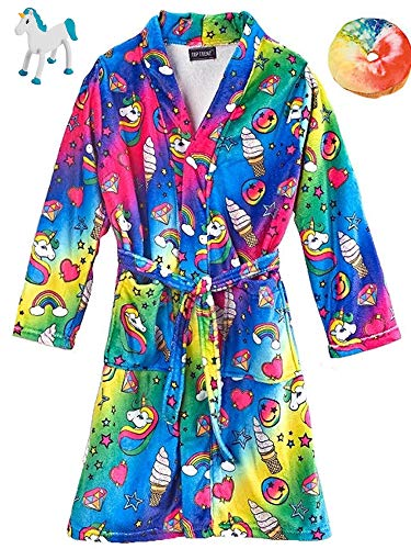 Unicorn Fantasy Big Girls' Bath Robe, Plush Donut & Bendable Unicorn Bundle Set - Bath Fantasy