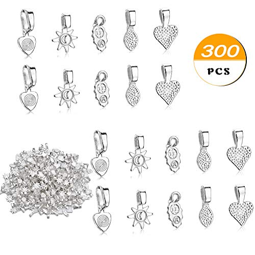 JEWMAY 300PCS Silver Color Spoon Glue on Pendant Bails Necklace Bails for Jewelry Making Scrabble or Glass Cabochon Tiles Pendants