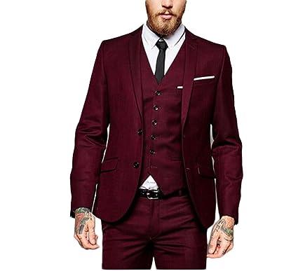 ce4fbd1502d0a4 Botong Burgundy Peak Lapel Men Suit 3 Pieces Wedding Suits Groom Tuxedos  Burgundy 34 Chest /
