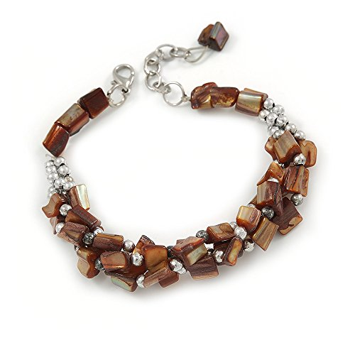 Avalaya Brown Shell Nugget, Silver Tone Bead Twisted Bracelet - 19cm L/ 3cm Ext