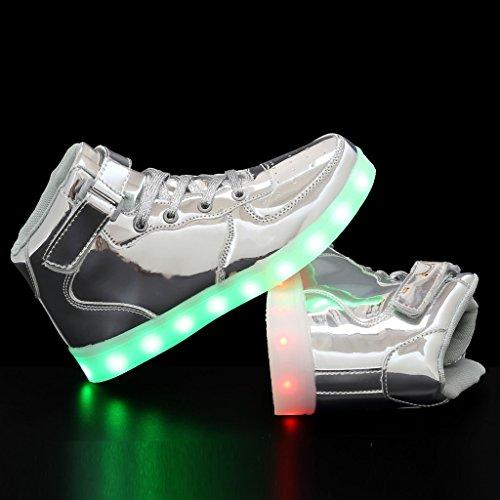 EQUICK Licht up Schuhe Frauen Blinkende LED Leuchtende High Top Walking Sneakers 11 Farben Männer Kind USB Lade 05silber