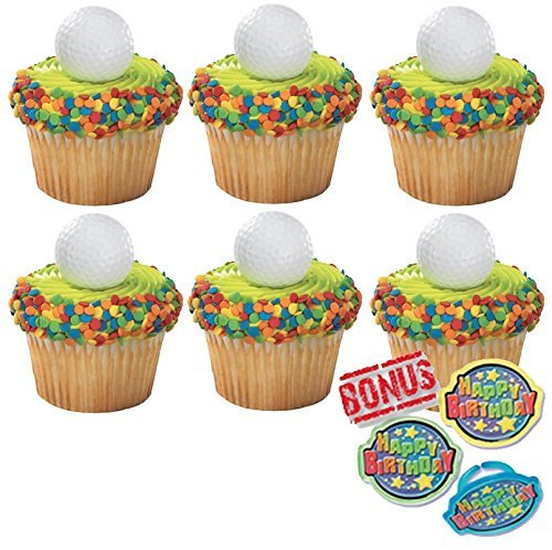 Golf Ball Cupcake Toppers and Bonus Birthday Ring - 25 piece
