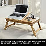 Extra Large Lap Desk Home Dorm Height Adjustable Foldable Lightweight Media Bed Serving Tray Comfortable Portable Study Working Reading Table Flower Ventilation Holes Organizing Drawer Natural Bamboo