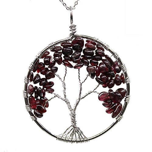 KISSPAT Handmade Tree of Life Gemstone Pendant Necklace with 26